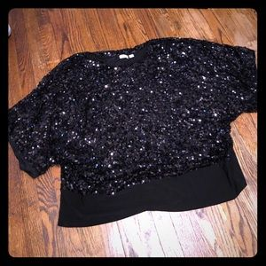 CATO Black Sequin blouse size 26/28